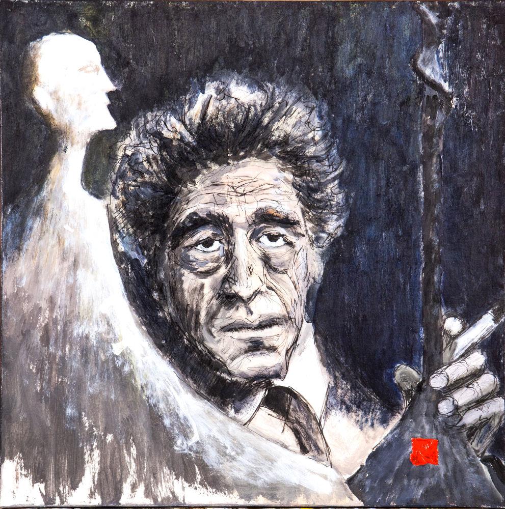 2019-10 Hommage à Giacometti 6, huile et acrylique sur toile, 50x50 cm