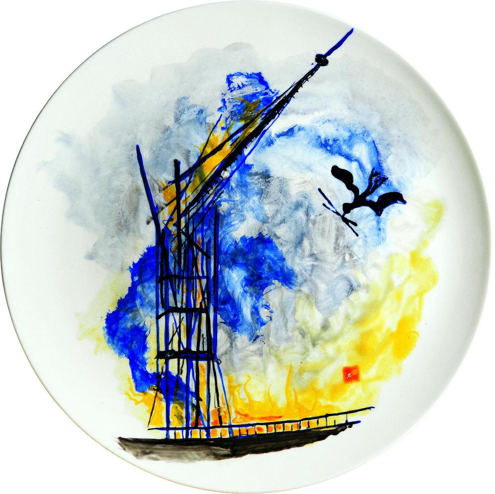 2019-103 Notre Dame émail sur porcelaine; Ø 38 cm