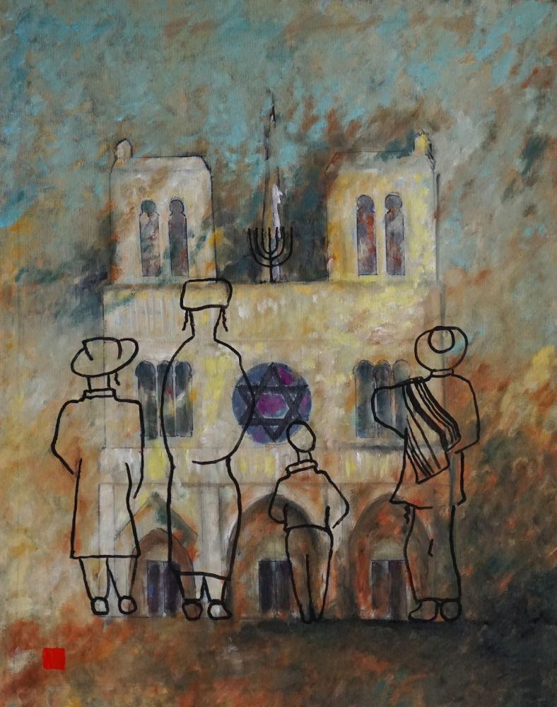 2021-1, N-D 68, Et si Notre-Dame était une synagogue?, huile sur toile 65x50cm